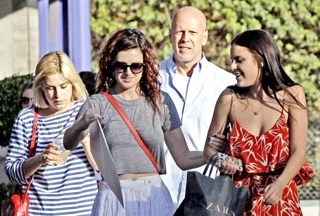 Rumer, Scout and Tallulah Willis with Bruce Willis