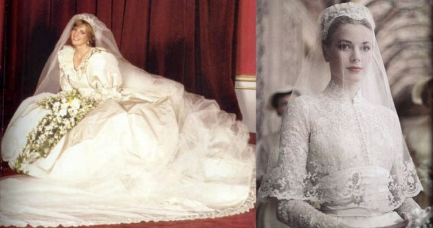 Princess Diana and Grace Kelly wedding dress