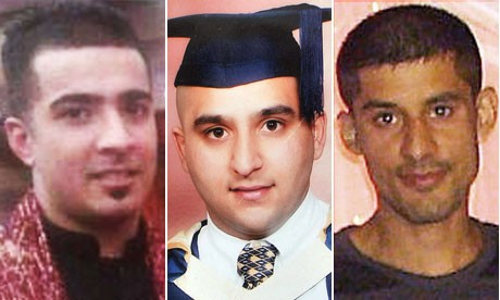 Haroon Jahan, Shezad Ali and Abdul Musavir who were killed in Winson Green, Birmingham (Reuters)