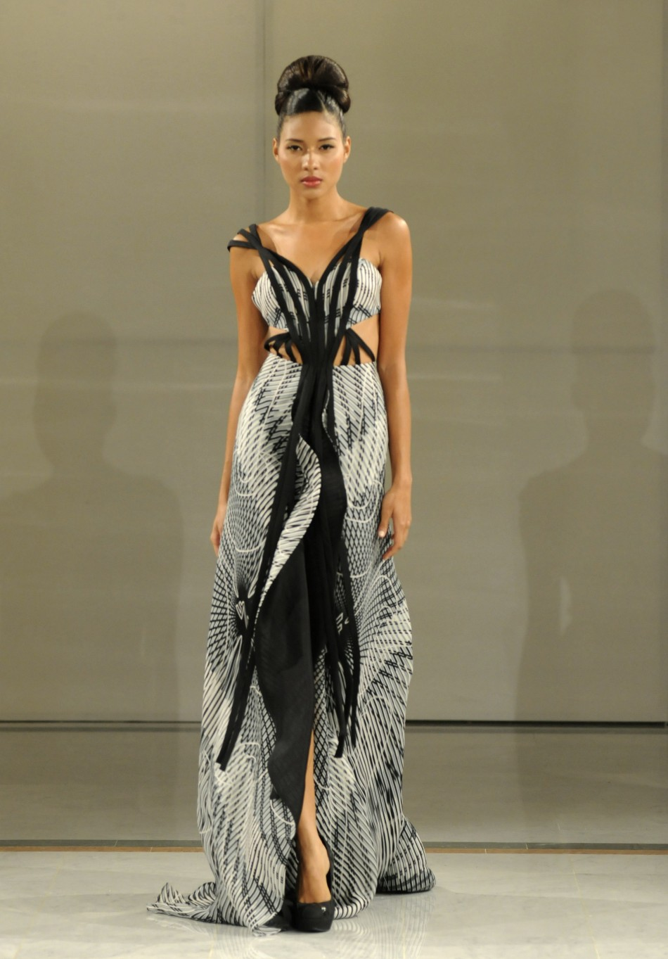 A model presents a creation by Venezuelan designer Nicolas Felizola during Caribbean Fashion Week RD 2012 in Santo Domingo