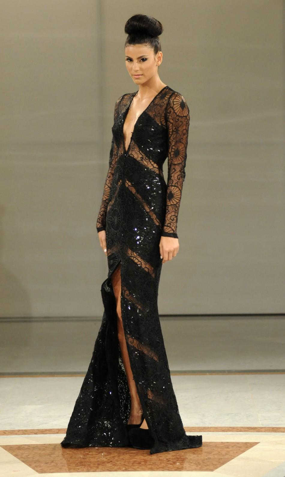 A model presents a creation by Venezuelan designer Nicolas Felizola during Caribbean Fashion Week RD 2012 in Santo Domingo