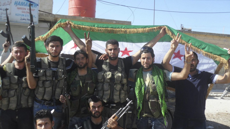 Syrian rebels celebrating