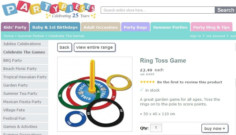 Party Pieces' ring toss game