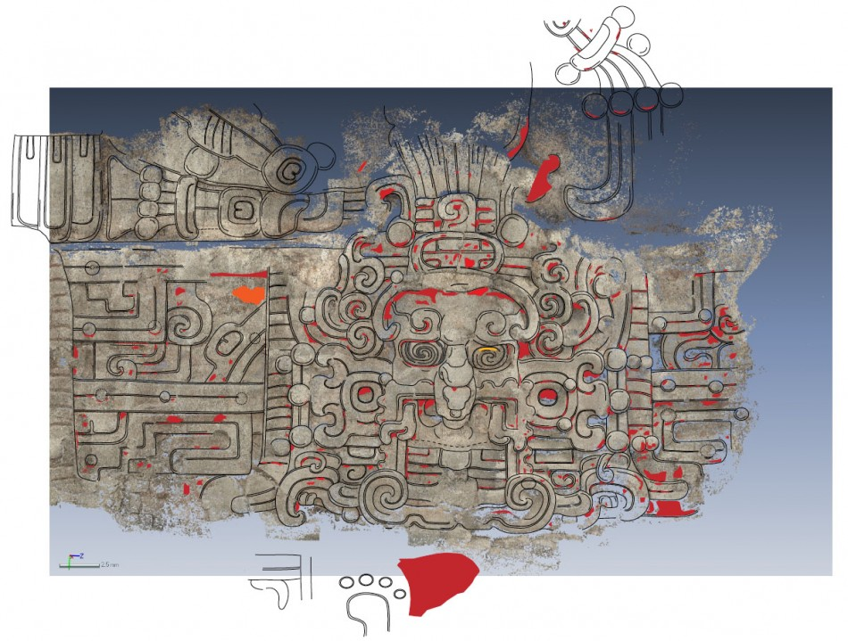 A tracing of an image found at the El Zotz archaeological site in Guatemala depicts the Maya sun god. (Photo: Brown University)