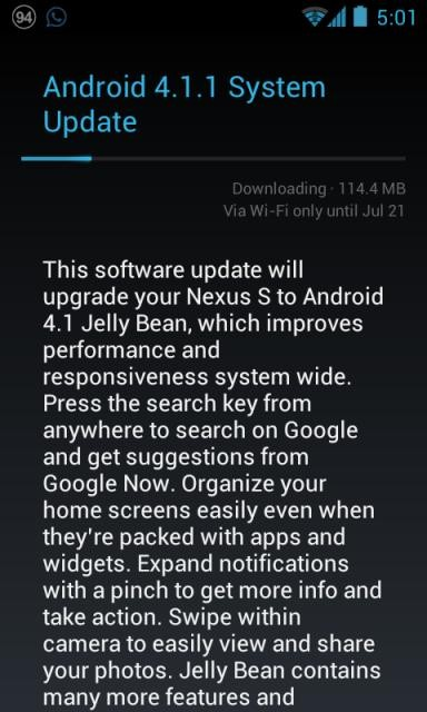 Android 4.1 Jelly Bean OTA Download Leaked for Nexus S
