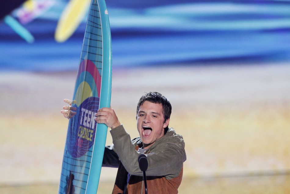 Actor Hutcherson accepts the Choice Movie Actor Sci-FiFantasy Award at the Teen Choice Awards at the Gibson amphitheater in Universal City