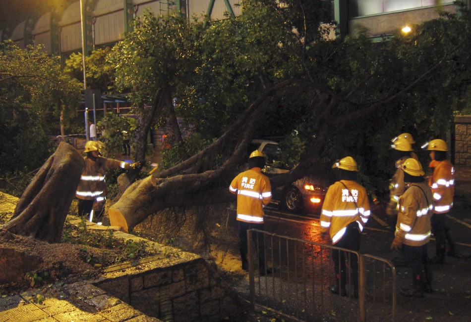 Emergency crews clear trees and debris from Hong Kong's Central district after Typhoon Vincente struck
