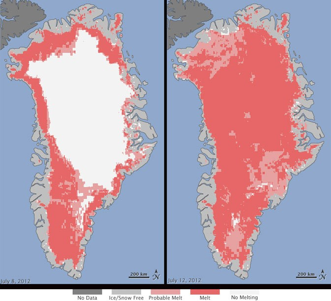 Nasa Satellites Witness Greenland Ice Sheet Surface Melt