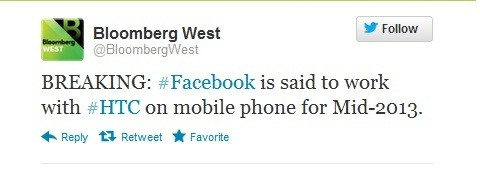 Facebook is reportedly working with HTC to develop its own smartphone which would be released in mid 2013