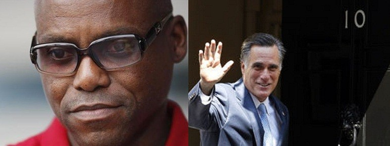 Olympic gold medalist Carl Lewis (left) US Republican presidential nominee Mitt Romney (Reuters)