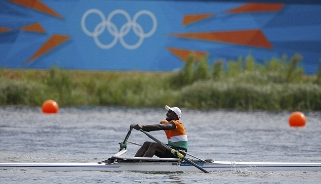 Niger's Hamadou Djibo Issaka rows in the men's single sculls repechage at Eton Dorney during the London 2012 Olympic Games