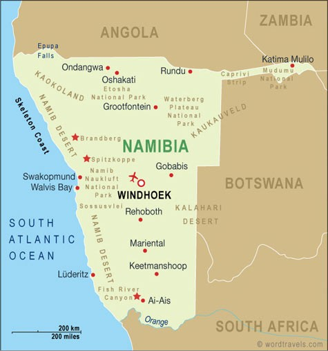 Map of Namibia