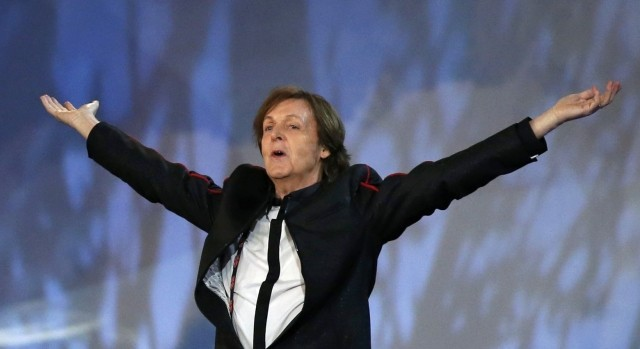 Sir Paul McCartney performs during opening ceremony of London 2012 Olympics, 27 July.