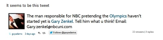 Gary Zenkel Twitter bans Independent Journalist Guy Adams For Publishing NBC Email Address