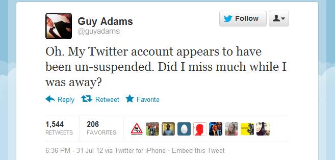 Guy Adams Twitter