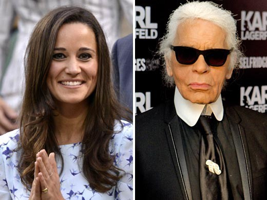 Back to front: Pippa Middleton and Karl Lagerfeld