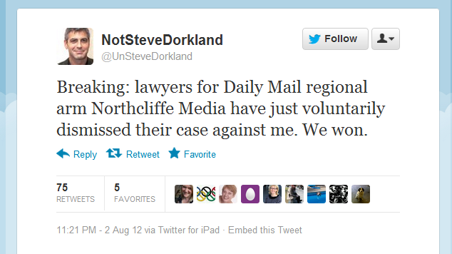 UnSteveDorkland Northcliffe Media Legal Battle
