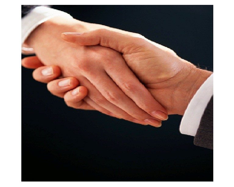 A handshake between two business partners