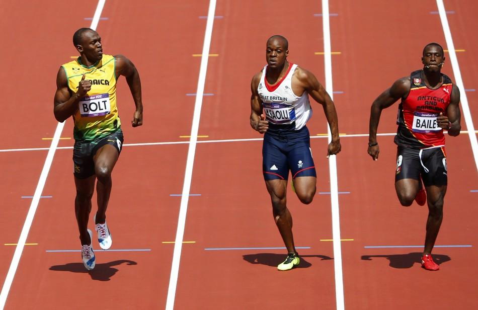Usain Bolt, James Dasaolu and Daniel Bailey