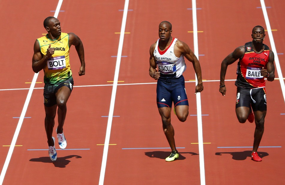Usain Bolt, James Dasaolu and Daniel Bailey