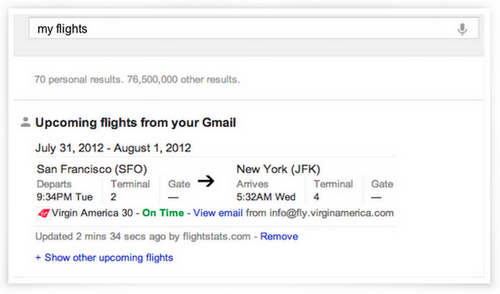Gmail content in Google Searches