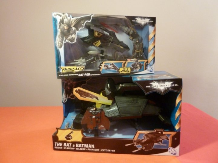 The Dark Knight Rises Toy Reviews Attack Armour Bat-Pod and The Bat boxes