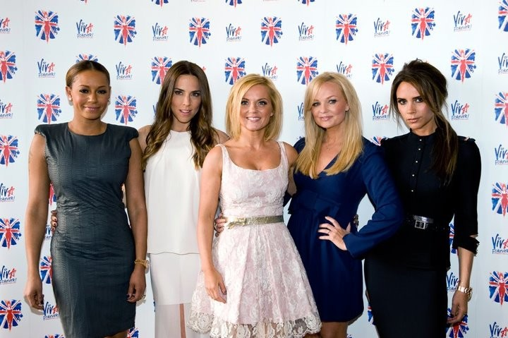 The Spice Girls (L to R) - Melanie Brown, Melanie Chisholm, Geri Halliwell, Emma Bunton and Victoria Beckham - at the launch of their new musical Viva Forever in London, 26 June. (Photo: Viva Forever! The Musical/Facebook)
