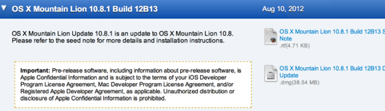 OS X Mountain Lion 10.8.1 Beta Pushed Out to Developers