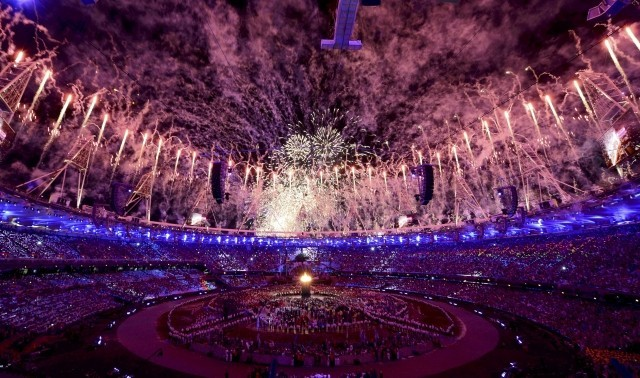 Fireworks during opening ceremony of London 2012, 27 July.