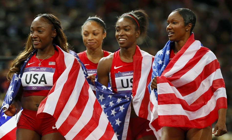 Allyson Felix, Bianca Knight, Tianna Madison and Carmelita Jeter