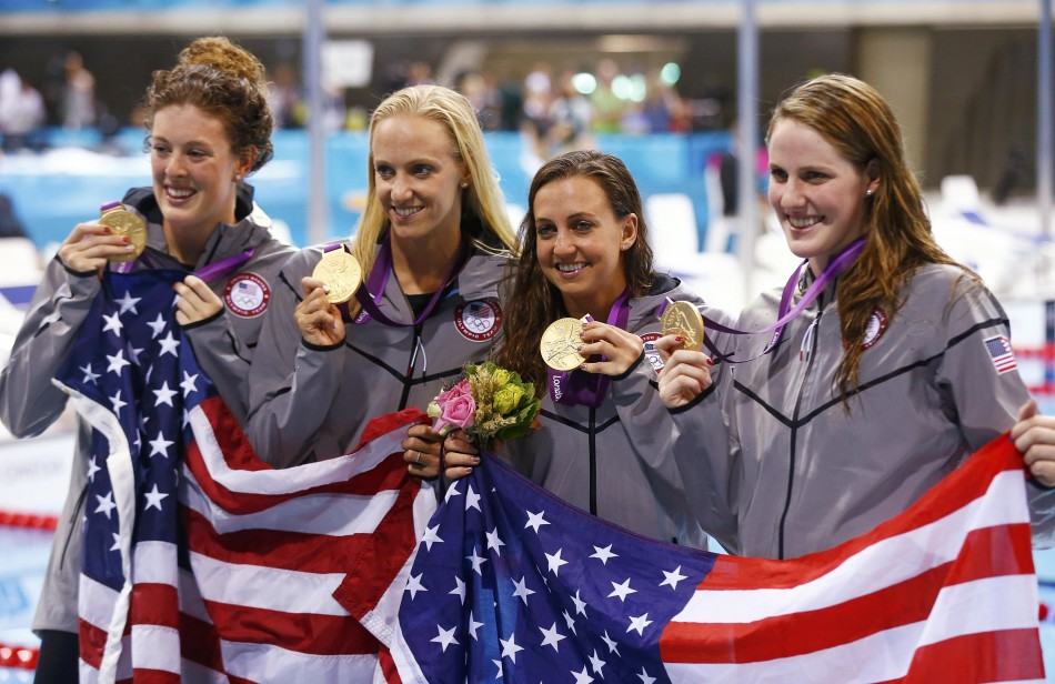 Missy Franklin, Rebecca Soni, Dana Vollmer and Allison Schmitt