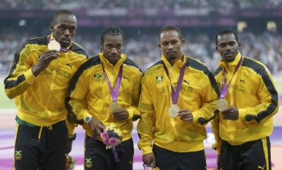 Usain Bolt, Yohan Blake, Michael Frater and Nesta Carter