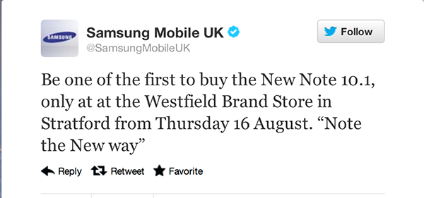Samsung UK Twitter Feed
