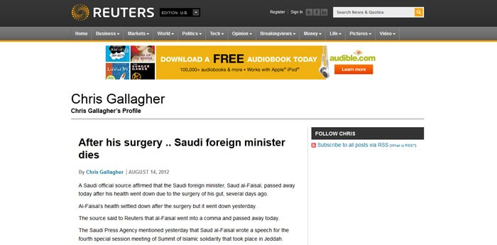 image of the  report on Reuters before it was removed