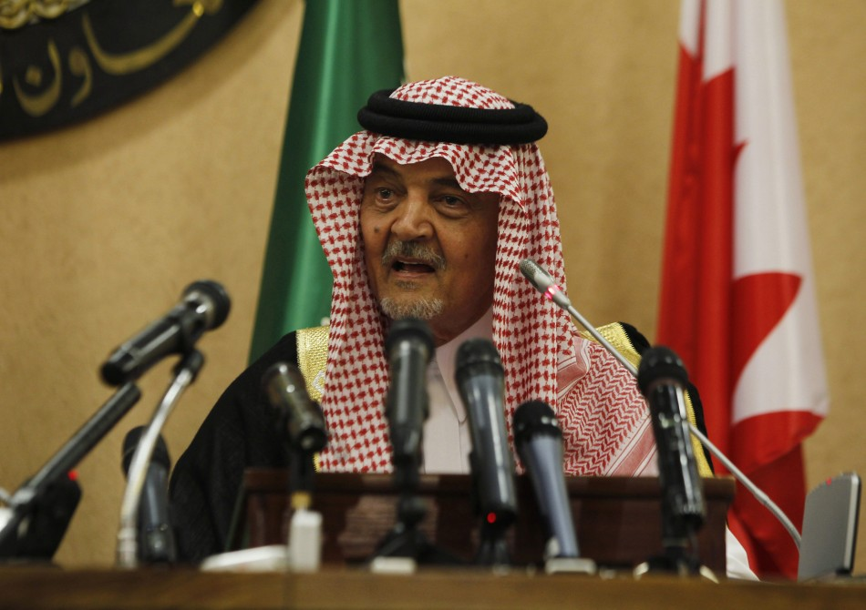 Saudi Arabia's Foreign Minister, Prince Saud al-Faisal, addresses a news conference in Riyadh