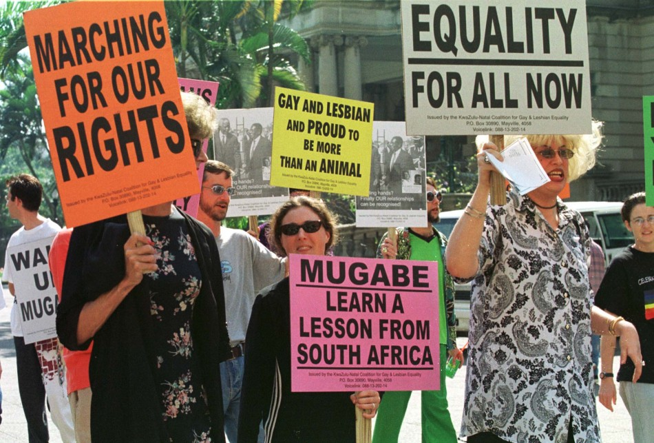 SOUTH AFRICAN GAYS PROTEST AGAINST ZIMBABWE PRESIDENT ROBERT MUGABE.