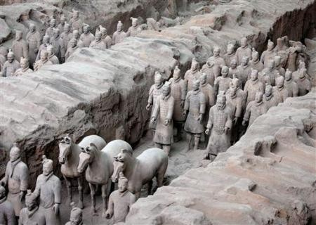 China's army of terracotta soldiers are buried in the ancient Chinese capital of Xian. Ten of these figures will go on display in California in 2013.