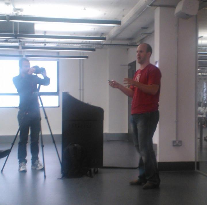 Eben Upton Raspberry Pi Inventor at Google Campus in London UK arms