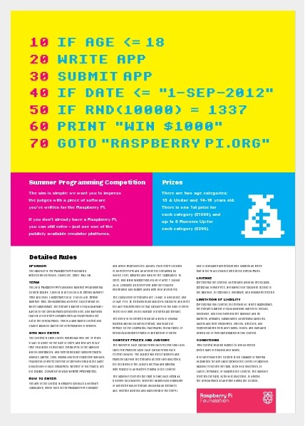 Raspberry Pi programming contest poster