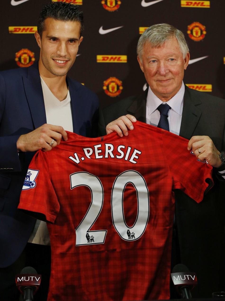 Dutch striker Robin van Persie with Manchester United boss Sir Alex Ferguson