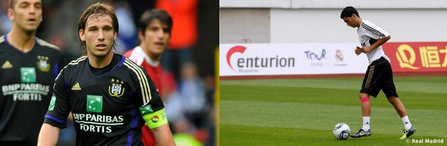 Real Madrid's Nuri Sahin (R) and Anderlecht's Lucas Biglia