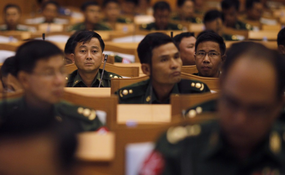 Representatives from the military members of parliament attend the opening of a joint parliament session in Naypyitaw