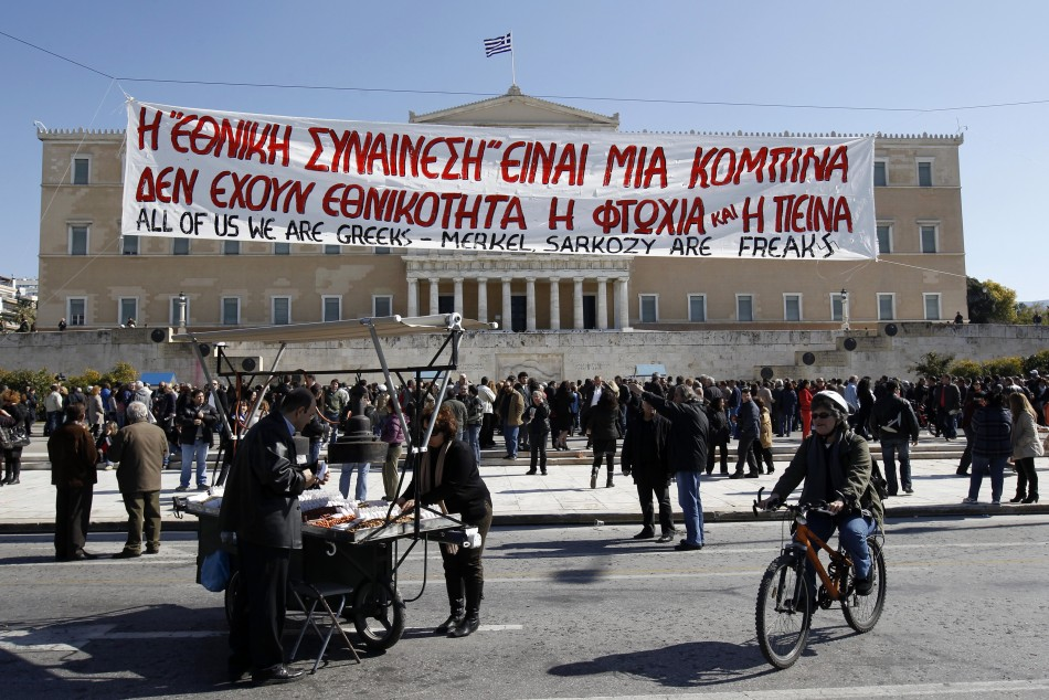 Protesters gather during an anti-austerity rally in front of the parliament in Athens