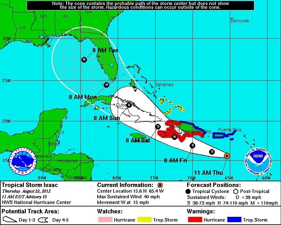 Tropical Storm Isaac Path 2012