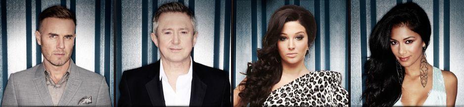 X factor judges- Gary Barlow, Tulisa Contostavlos, Louis Walsh and Nicole Scherzinger