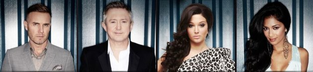 X factor judges- Gary Barlow, Tulisa Contostavlos, Louis Walsh and Nicole Scherzinger
