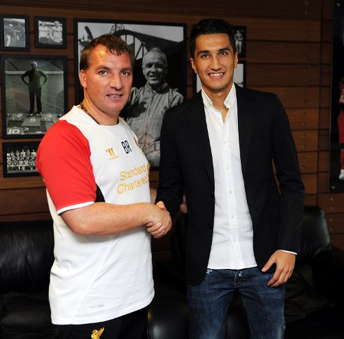Brendan Rodgers (L) and Nuri Sahin