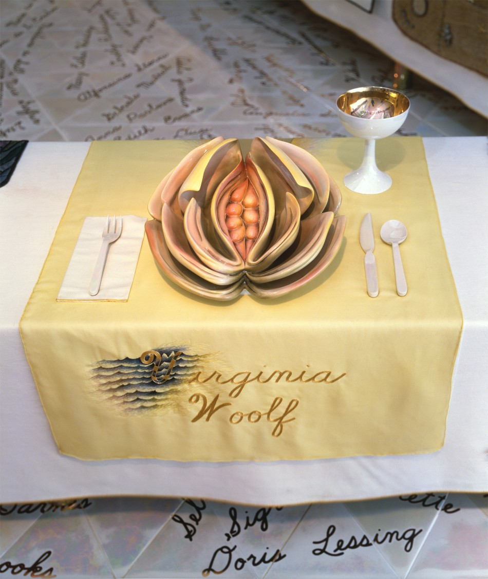 The Dinner Party – Detail, Virginia Woolf Placesetting (Judy Chicago/Donald Woodman)
