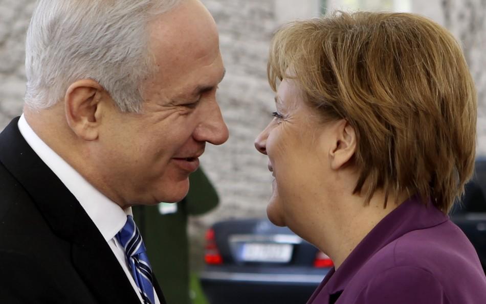 German Chancellor Merkel welcomes Israel's Prime Minister Netanyahu