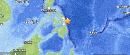 The 7.9 has struck off the east coast of the Philippines (US Geological Survey)